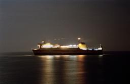 Ferry at sea at night