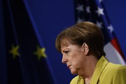 German Chancellor Merkel attends a news conference at Schloss Herrenhausen in Hanover