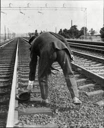 Law Crime Robbery 1963 'the Great Train Robbery' Detective Finds Driver Mill's Cap Beside The Railway Line After Bandits Robbed Glasgow To London Royal Mail Train