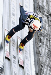 Bardal from Norway speeds down the jump during the practice for the second event of the four-hills ski jumping tournament in Garmisch Partenkirchen