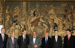 Foreign Ministers of the Visegrad Group countries pose for a photo after a meeting of Visegrad Group in Prague