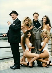 Tv Programme: Minder. George Cole (arthur Daley (left) And Gary Webster (ray) With Girls (no Order Given) Louise Payne Nicky Ind Helen Labdon And Jane Marconi. (for Full Caption See Version) Box 654 111121548 A.jpg.