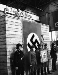 Adolf Hitler in front of workers in Graz, 1938