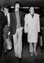 Peter Bessell (r) Former Liberal Mp Arriving At Heathrow From America Accompanied By Son Paul Bessell. He Is In Britain To Give Evidence In The Case Against Jeremy Thorpe At The Old Bailey. Box 715 904111649 A.jpg.