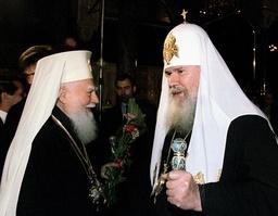 RUSSIAN PATRIARCH ALEXEI II SPEAKS WITH BULGARIAN PATRIARCH MAXIM IN SOFIA