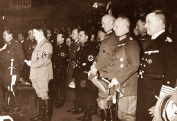 Hitler, accompanied by high army officers, 1936