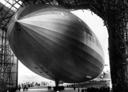 The airship LZ 129 'Hindenburg' leaves the hangar in Friedrichshafen, 1936