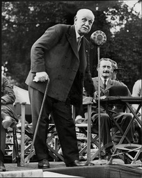 George Lansbury Labour Politician Speaking At Microphone Stand Boy Scouts Rally Victoria Park 1937.