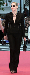 AMERICAN ACTRESS SHARON STONE POSES FOR PHOTOGRAPHERS DURING RED CARPET ARRIVALS IN CANNES