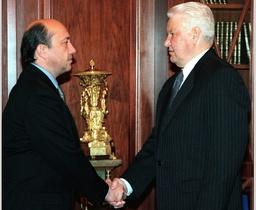 RUSSIAN PRESIDENT BORIS YELTSIN GREETS FOREIGN MINISTER IGOR IVANOV