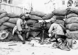 Chinese soldiers at a position in Shanghai, 1932