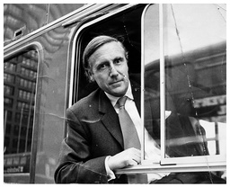 Lord Gilbert (formerly Dr John Gilbert) Former Minister Of Transport Is Pictured At The Wheel Of A New Leyland Bus. Baron Gilbert Of Dudley