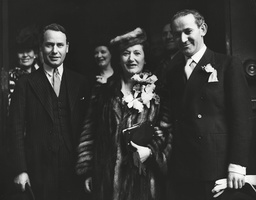 Wedding Of Miss Rose Rosenberg Who Was Personal Private Secretary To The Late Mr Ramsay Macdonald To Mr Lazlo Hoenig The Artist. The Couple Pictured After The Ceremony With Mr Malcolm Macdonald. Box 0594 24062015 00479a.jpg.