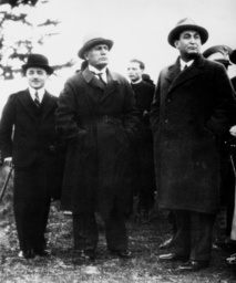Engelbert Dollfuss, Benito Mussolini and Gyula Gombos in Rome, 1934