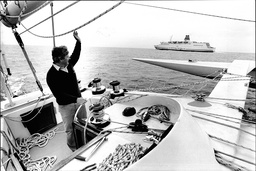 Chay Blyth Sailing His Racing Trimaran 'brittany Ferries G.b' Off Plymouth - 1982