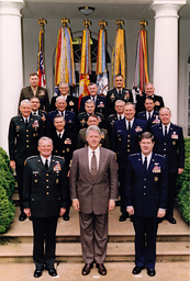 Clinton Poses for a Group Photo with United States Armed Forces Service Chiefs and the Commanders-in-Chief