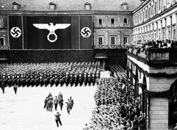Adolf Hitler on the Weimar castle courtyard at the party anniversary of the NSDAP, 1936
