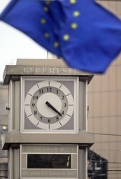 Clock counting down the time before Romania joins the European Union (EU) is seen in central Bucharest