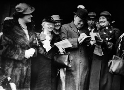 Winston Churchill signing autographs, 1937