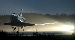 Space shuttle Discovery returns to the Kennedy Space Center in Cape Canaveral