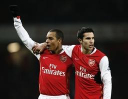 Arsenal's Van Persie celebrates scoring a goal during their English Premier League soccer match at The Emirates Stadium in London