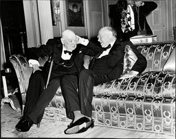 Sir Winston Churchill And Lord Beaverbrook At A Party Given For Lord Beaverbrook By Lord Rothermere.