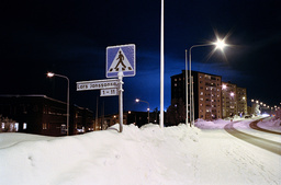 Snowy cityscape at night