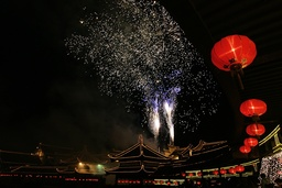 Fireworks explode over the Longhua Buddhist Temple during New Year celebrations