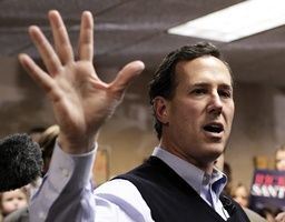 Republican presidential candidate Rick Santorum campaigns in Sioux City