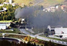 SMOKE RISES FROM CHIMNEY AT GOTTHARD TUNNEL.