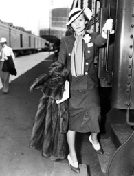 Marlene Dietrich at the train station in Los Angeles, 1936