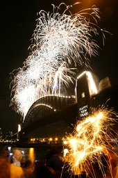 Fireworks explode over the Sydney Harbour Bridge during New Year's eve celebrations