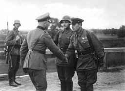 German and Russian officers welcome each other in Poland, 1939