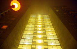 Building with lamppost at night