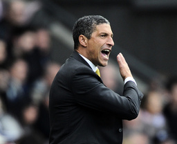 Norwich City's manager Hughton reacts during their English Premier League soccer match against Swansea City in Swansea