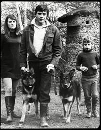 Actor Oliver Reed Pictured At His Wimbledon Home With His Wife Katie Son Mark And Their Dogs Scharn And Horst.