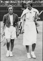 Tennis Player Helen Jacobs (l) And Mme Speiling After Wimbledon Final Helen Hull Jacobs (august 6 1908 A June 2 1997) Was A World No. 1 American Female Tennis Player Who Won Ten Grand Slam Titles. She Was Born In Globe Arizona United States.