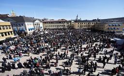 Manisfestation i Härnösand mot att lägga ner sjukhuset i Sollefteå