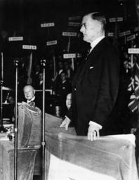 Joseph Austen Chamberlain during a commemorative speech, 1936