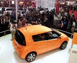 TOYOTA'S FUTURISTIC WILL VC CAR ON DISPLAY AT THE 35TH TOKYO MOTOR SHOW 2001 IN MAKUHARI