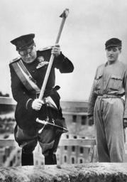 Benito Mussolini at the inauguration of Pomezia, 1939