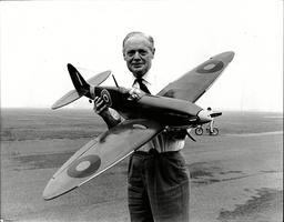 Sir Douglas Bader With Remote Controlled Spitfire.