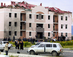 GENERAL VIEW OF BLAST SITE IN MAGAS AFTER SUSPECTED SUICIDE ATTACK