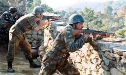 INDIAN SOLDIERS EXCHANGE RETALIATORY FIRE ACROSS THE LINE OF CONTROL