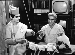 Comedians Dudley Moore And Peter Cook As Thunderbirds Puppets In 1966.