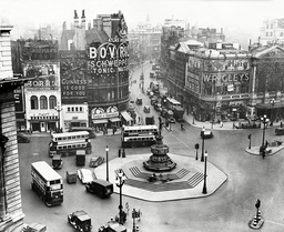 Piccadilly Circus London W1 Pictured In 1937. Photograph Shows Traffic Circling The Statue Of Eros .