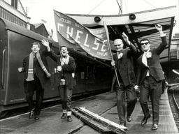 Football Crowds & Supporters ..... 1966 Four Chelsea Fans From Hither Green London Off To Milan To Cheer On Chelsea As They Leave Victoria On A Boat Train This Morning. Proof That Football Fanaticism Knows No Boundaries Either Emotional Or Geographic
