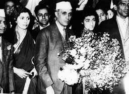 Pandit Jawaharlal Nehru pictured with his daughter Indira Gandhi