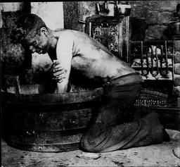 South Wales Miner Having A Wash In His Fireside Bath In 1936.
