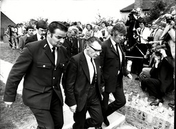 Funeral Of Violet Kray Mother Of The Kray Twins August 1982. Ronnie Kray (died 3/1995) Arriving In Handcuffs At His Mother's Funeral.